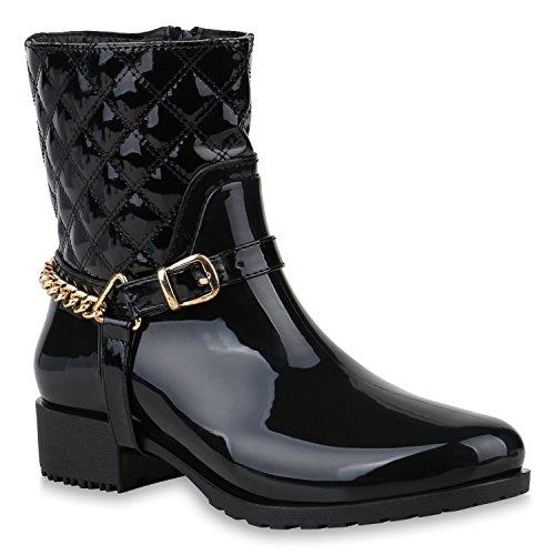 Damen Schuhe Gummistiefel Stiefeletten Leicht Gefütterte Stiefel Ketten 153343 Schwarz Black Brito 38 Flandell