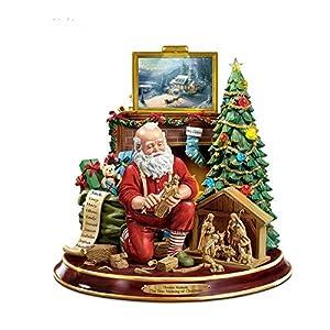51MYPoZVKdL. SS300  - The Bradford Exchange 'The True Meaning Of Christmas' - Santa Figurine with Nativity by Thomas Kinkade - Light and Sound