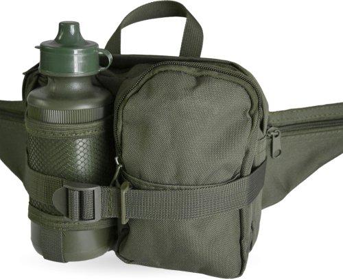 Hüfttasche mit Trinkflasche, oliv, mit div. Taschen OLIV