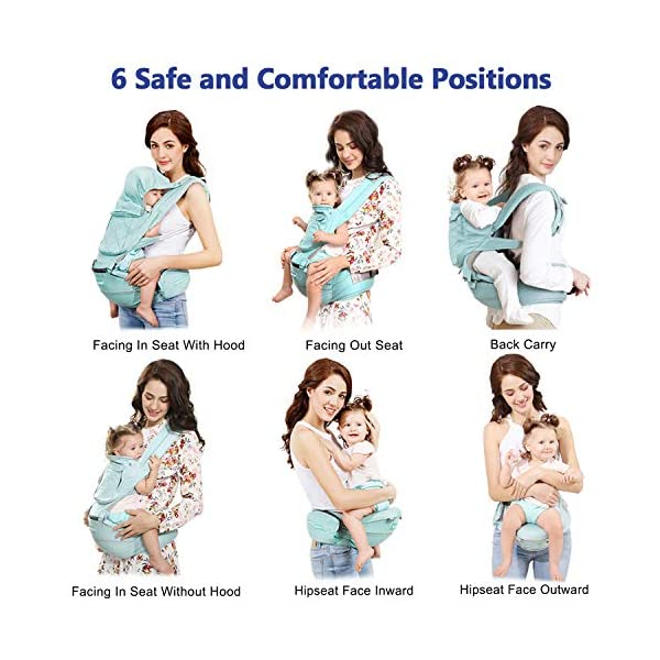 "Windsleeping Toddler Baby Carrier with Hood for All Seasons,6-in-1 Ways to Carry,Hip Seat Carrier Front and Back,Silicone Skid-Proof Seat Surface,Suit for Infant,Toddler,Kids,Newborn - Blue Windsleeping [Specification] - Watch more detail video please click: https://www.amazon.com/dp/B07N3V4SDL?ref=dp_vse_rvc0.Size of the child carrier backpack is: L 29.4*H 27.3*W 19.2CM(11.5""*10.7""*7.5""). Weight: 1.05KG(2.31lbs). Max load-bearing: Up to 40 pounds/ 20Kg. Suitable 3-36 months age children [Breathable Natural Latex & Cotton] - Made of natural latex, breathable cotton, natural latex can inhibit bacteria and allergens effectively, Unique breathable pinhole design can dissipate body heat and moisture, make comfort for both you and baby [Portable Split Design & 6 Carrier Ways ] - The waist stool of the baby travel carrier could be detached from upper strap, makes the waist stool can be used independently, can easily use when traveling. More than 6 ways to carrier: front inward, front outward, hip or back carry 3"