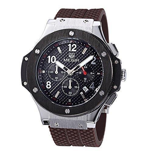 megir Herren-Chronograph 24Hr Anzeige Militär Sport Uhren 3ATM Wasserdicht Gold Edelstahl Herren Uhren mn3002gbn-1