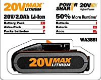 WORX WA3551.1 20V 2.0Ah Battery pack with Powershare Battery platform