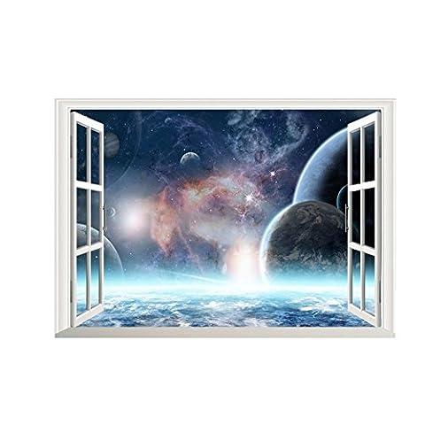 Aufkleber 3D Effekt-Galaxie-Wand-Aufkleber Weltraum-Planeten-Aufkleber-Tapete 3d Fenster-Landschaft-Wand-Abziehbilder für Wohnzimmer-Zuhause-Dekor