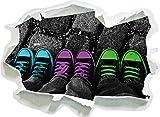 Stil.Zeit Türkis pink neon grüne Chucks Black and White Black Background schwarz/weiß, Papier 3D-Wandsticker Format: 62x45 cm Wanddekoration 3D-Wandaufkleber Wandtattoo