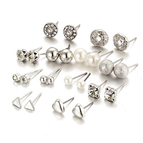 6/12 paar Weiß Kristall Geometrische Ohrstecker Pfirsich Herz Piercing Ohrringe Sets für Frauen (Silber)