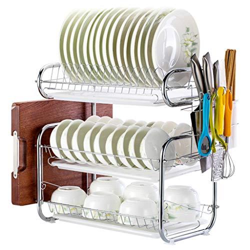 OldPAPA 3 Tier Dish Abtropffläche Halter Dish Wäscheständer Edelstahl Teller Dish Cup Besteck Abtropfgestell, Küche Organisation Regal mit Tropfschale, B