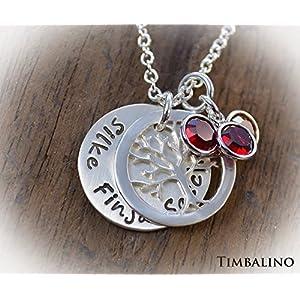 Familienkette *Lebensbaum* 925 Silber mit Geburtssteinen