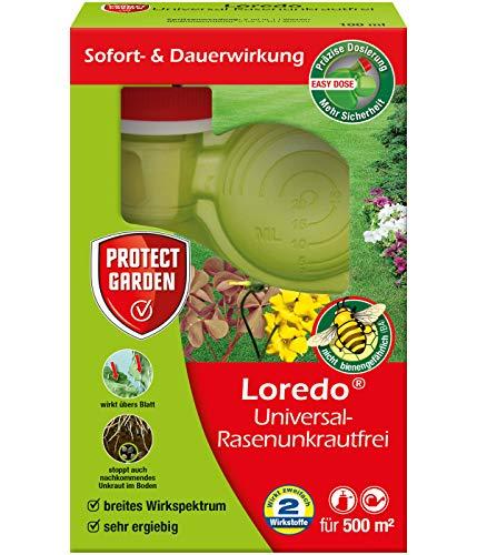 PROTECT GARDEN Loredo Universal Rasenunkrautfrei (ehem. Bayer Garten) Rasen-Unkrautvernichter gegen Sauerklee, Ehrenpreis, Gundermann, Hornkraut und Gemeine Braunelle, 100 ml