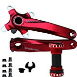 JNP MTB Einteilige Kurbelgarnitur Lochkreis 104°mm, Länge 175mm, mit Tretlager, für Mountainbike, Faltrad, Rennrad, mit Kettenblattschrauben und Werkzeug, rot