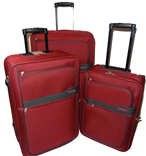 D&N - Travel Line 9300 - Trolley-Koffer-Set, 3-teilig, Extra Leicht, Dehnfalte, Farbe: Rot-Grau, 2 Jahre Garantie
