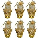Majik Decorative Royal Basket Potli for Fruit Gifting, Chocolate Gifting, Sweet Gifting, Pack of 1 (B1 6 Pcs Golden)