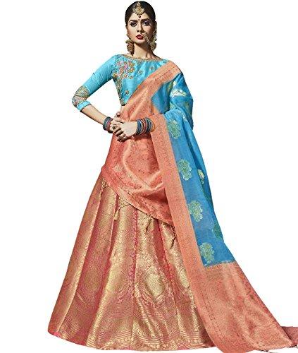 Indian Ethnicwear Bollywood Pakistani Wedding Peach Flare Lehenga Semi-stitched