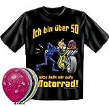 T-Shirt Fun Shirt Ich bin über 50 bitte helfen sie mir aufs Motorrad Größe XL zum 50. Geburtstag + 5 Luftballons, lustige Geschenke