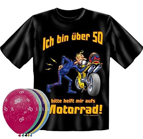 T-Shirt Fun Shirt Ich bin über 50 bitte helfen sie mir aufs Motorrad Größe L zum 50. Geburtstag + 5 Luftballons, lustige Geschenke (Motorrad T-shirts Lustige)