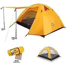 Naturehike 1234persona tenda da campeggio impermeabile tenda da spiaggia, design due ante a doppio strato con aste di alluminio per outdoor Backpacking caccia escursioni viaggi, Uomo/Donna, Orange, Per 2 persone