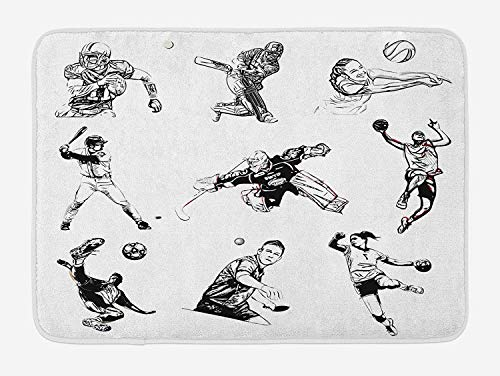 OQUYCZ Olympics Bath Mat, Basketball Football Volleyball Cricket Tennis Players Athletes Illustration Print, Plush Bathroom Decor Mat with Non Slip Backing, 23.6 W X 15.7 W Inches, Black White