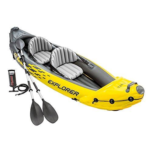 Intex Schlauchboot Aufblasbares Kajak Boot Explorer K2 Phthalates Free Inkl. 84 Paddel und Luftpumpe, 312 X 91 X 51 cm