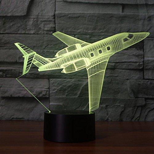 3D Flugzeuge Lampe USB Power 7 Farben Amazing Optical Illusion 3D wachsen LED Lampe Formen Kinder Schlafzimmer Nacht Licht