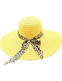 6ad786720d7 Jaysis♥Women Straw Sun Hat Foldable Wide Brim Floppy Summer Beach Hat  Bowknot Sun Visor