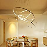 Henley LED Pendelleuchte Modern Beleuchtung Hängelampe Höhenverstellbar Lampe Kreative Design Drei Ring Deckenleuchte 75W Pendellampe für Wohnzimmer Küche Weiß Acryl Leuchte Esstisch Kronleuchte , warmweißes