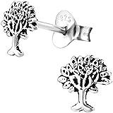 EYS JEWELRY Baum des Lebens Damen-Ohrstecker 925 Sterling Silber oxidiert 6 mm Lebensbaum Ohrringe Damen-Schmuck