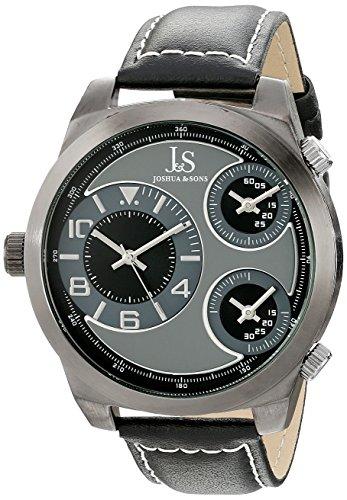Joshua & Sons Reloj Pantalla analógica cuarzo japonés Negro para hombre