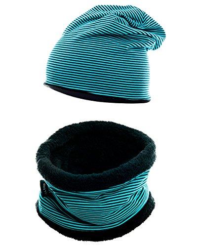 Hilltop Winter-Set, bestehend aus Baumwolle für Kinder. Wärmendes Set aus kurzem LOOP Schal mit Teddy Fleece und passender Beanie Mütze, Farbe:Kopfumfang 46-52 cm. Türkis -