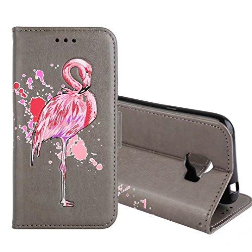 Preisvergleich Produktbild Galaxy J2 Pro 2018 Hülle,COWX Handyhülle für Samsung Galaxy J2 Pro 2018 Hülle Leder Flip Case Brieftasche Etui Schutzhülle für Samsung J2 Pro 2018 Tasche Cover Flamingos (Grau)