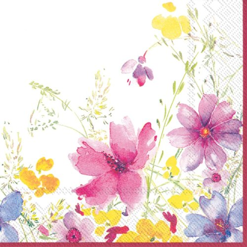 -count 3-lagig Papier Cocktail Servietten, Mariefleur (Blumen-party-servietten)