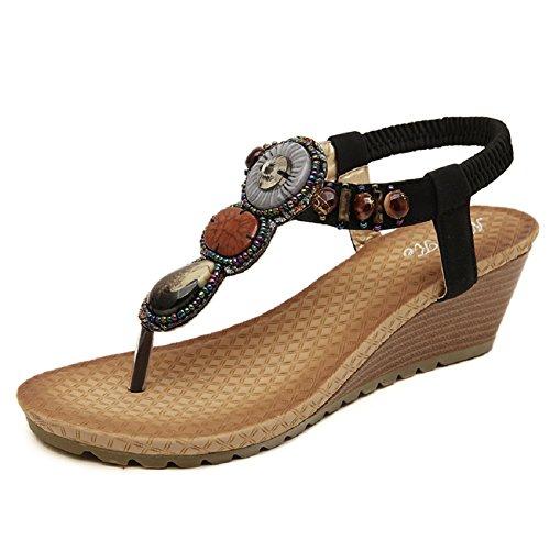 Scarpe da Spiaggia - Landove Sandali Donna Estivi Bassi Boemia Stile Etnico Infradito Perline con Strass nero 02