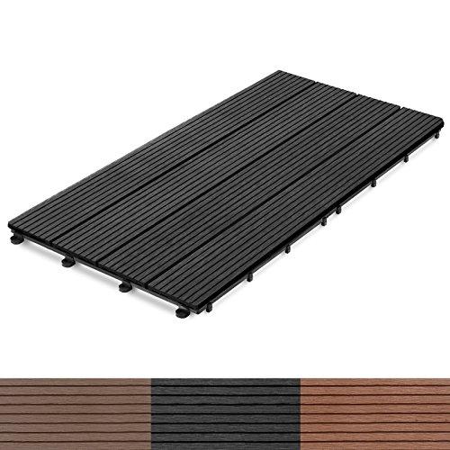 WPC Terrassenfliesen Prestige | Terrassendielen 60x30 cm | Klick Fliese in Holz Optik | einzeln oder im Set | anthrazit (11 Stück / 2 m²)