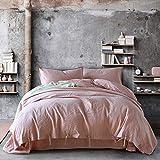 XMDNYE Sommer Baumwolle Und Flachs Vier Sätze 55% Hanf 45% Baumwolle, Natürliches Flachsbett Vier Stück, Pink Begonia, 1,8 M (6 Fuß) Bett