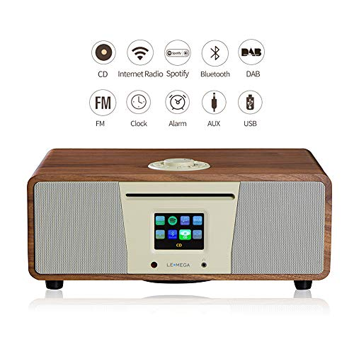 LEMEGA M4+ All-in-One Smart Music System (2.1 Stereo) with CD, Wi-Fi, Internet Radio, Spotify, Bluetooth, DLNA, DAB, DAB+, FM Radio, Clock, Alarms, Presets, and Wireless App Control - Walnuss