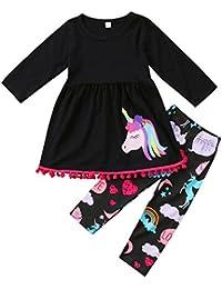 Vestido de manga larga con estampado de caballo para niñas de 2 a 7 años, incluye leggings a juego, marca Zooarts, mezcla de algodón, negro, 130 (6-7 Years)