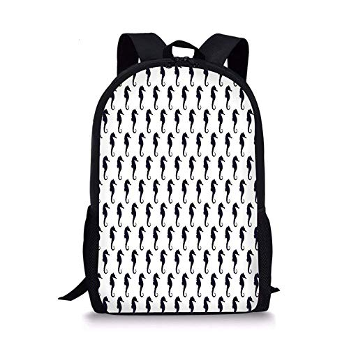 gthytjhv Geometric,Seahorse Silhouette Pattern Sea Creatures Theme Monochrome Aquatic Animals Decorative,Dark Blue White Boy Girl School Backpack Mens Womens Sports Bag