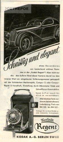 Alte Kodak Kamera (1936 - Anzeige / Inserat : KODAK REGENT KAMERA / SCHNITTIG UND ELEGANT - Format 150x70 mm - alte Werbung / Originalwerbung/ Printwerbung / Anzeigenwerbung)