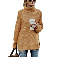 Aleumdr Womens Special Turtleneck Long Sleeve Top Solid Printed Plus Size Chunky Knitted Pullover Sweater Khaki X-Large