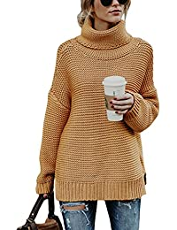 FIYOTE Womens Turtleneck Long Sleeve Chunky Knit Pullover Sweater