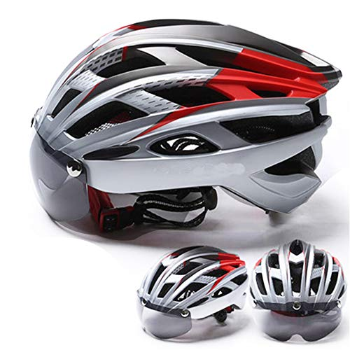 Fahrradhelm für Mountain- und Rennräder, verstellbar, für Erwachsene, Sicherheitsschutz und atmungsaktiv, mit Abnehmbarer magnetischer Brille, Visier für Damen und Herren, Red+Silver, Free Size