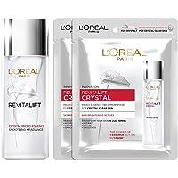 L'Oreal Paris Revitalift Crystal Micro-Essence, 65ml + 2 Crystal Sheet Mask 25gm, 115 g (Pack of 2)