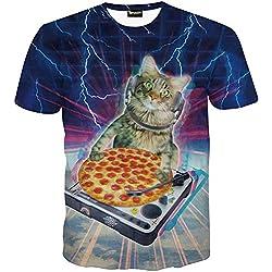 Pizoff Herren T-Shirt Kurzarm Katze Muster Blitz Muster interessant 3D-Druck ursprünglichen Modus System Street Fashion Hip-Hop-Stil Komfortable Unisex Tops Sommer Y1625-78-L