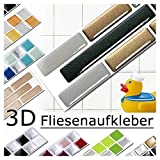 Grandora 5er Set 28,6 x 5,4 cm Fliesenaufkleber Kupfer dunkelgrau Silber Fliesensticker Design 7 Mosaik 3D-Effekt Aufkleber Küche Bad Fliesendekor Selbstklebend W5288