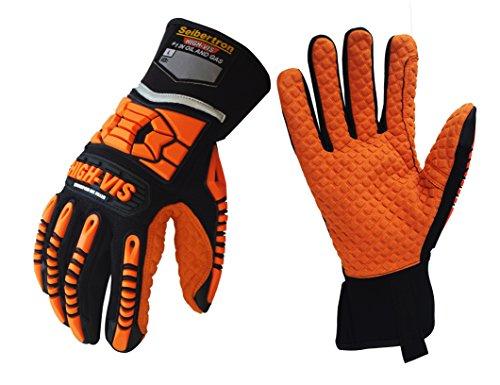 Seibertron HIGH-VIS SDXO2 Supergrip und GEL gefüllte Handschuhe mit Impact Schutz/Schlagfestes Öl abweisend Security mit Protektoren Bergbau Auswirkungen Handschuh M (90 Gels Öl)