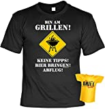 Spaß-Shirt inkl. Mini-Shirt/Geschenk-Set: Bin am Grillen! Keine Tipps! Bier bringen.... - Grill-Shirt inkl. Flaschendeko