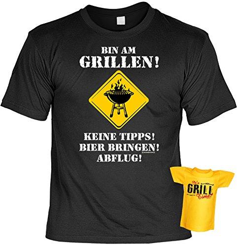 Spaß-Shirt inkl. Mini-Shirt/Geschenk-Set: Bin am Grillen! Keine Tipps! Bier bringen.... - Grill-Shirt inkl. Flaschendeko -