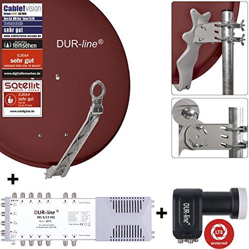 DUR-line 12 Teilnehmer Set - Qualitäts-Alu-Satelliten-Komplettanlage - Select 75/80cm Spiegel/Schüssel Rot + Multischalter + LNB - für 12 Receiver/TV [Neuste Technik, DVB-S2, 4K, 3D]