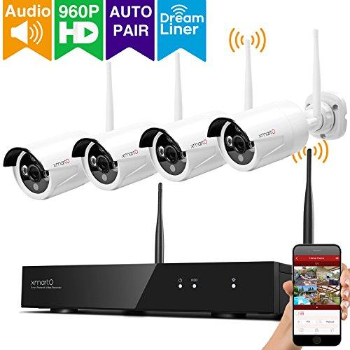 xmartO Kabellos Überwachungskamera System 4CH 960p NVR mit 4x 960p IP Kamera Instal Kit