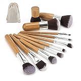 #5: MISS U PRODUCTS 11pcs Natural Bamboo Professional Makeup Brushes Set Foundation Blending Brush Tool Cosmetic Kits Makeup Set Brusher
