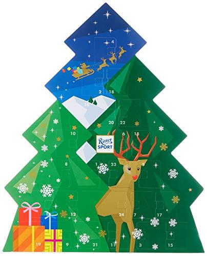(RITTER SPORT Schokowürfel Adventskalender (208 g), Weihnachtskalender zum Aufhängen, 26 Schokoladen-Würfel, 7 leckere Sorten, in Tannenform)