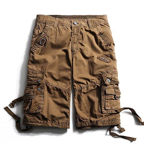 Herren Cargo Shorts Cargohose kurze Hose Loose Fit aus Baumwolle Hosentasche Overall Kaffeebraun